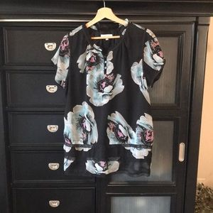 Ruffle Neck Floral Top